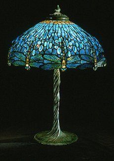 Tiffany Blue Drophead Dragonfly Table Lamp Example