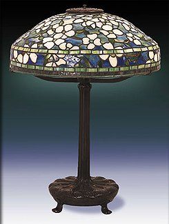 Tiffany belted dogwood table lamp