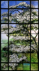 Tiffany dogwood window